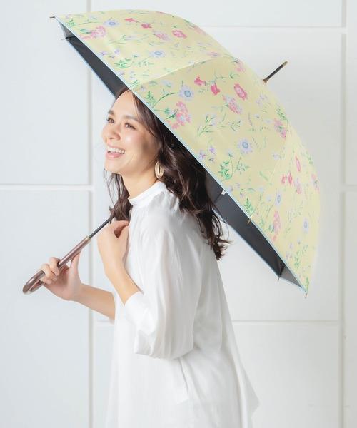 [macocca] 遮光率100%・UV遮蔽率99.9%以上 完全遮光 撥水 ブラックコーティング 晴雨兼用 ジャンプ傘 ボタニカル柄