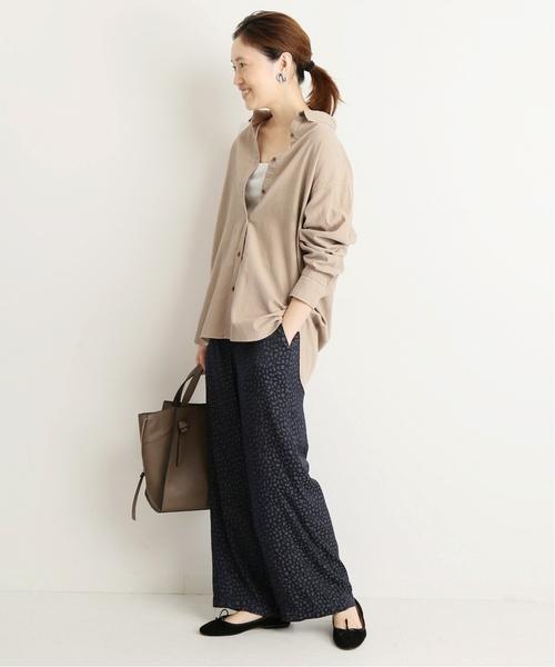 オーバーサイズシャツ×レオパード柄パンツ