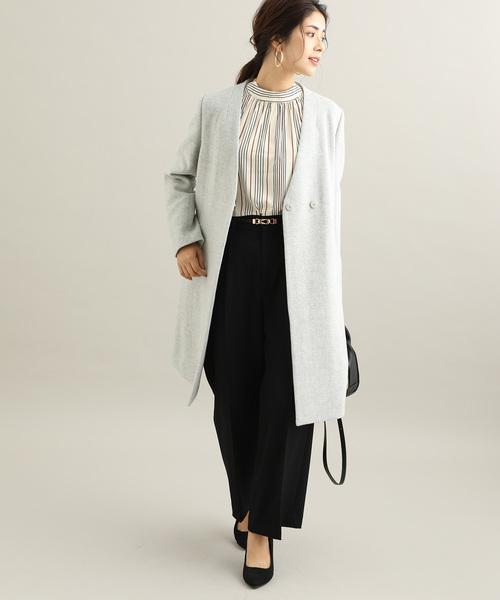 [ViS] 【蓄熱+静電気防止】フレンチウール混ノーカラーVネックコート