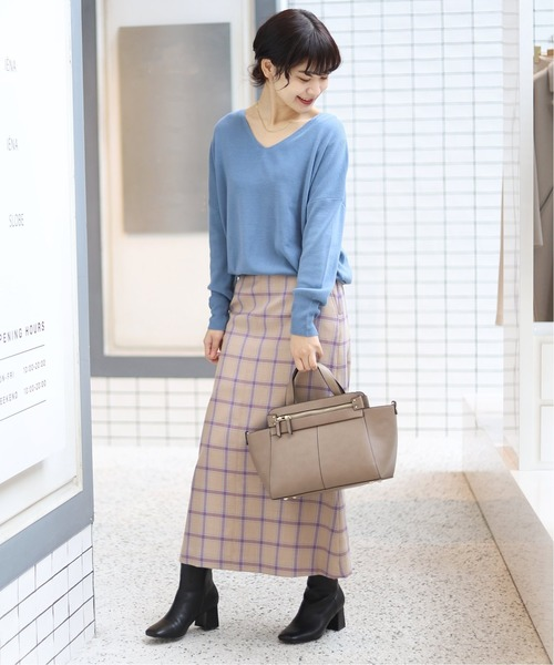 [IENA] ウール混チェックマーメイドロングスカート◆