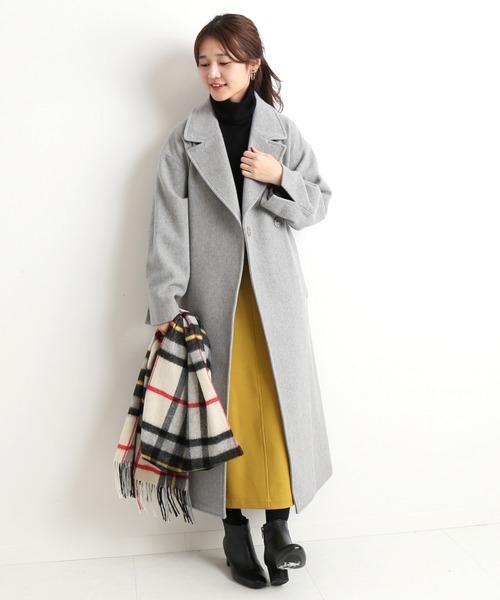 黄色スカート×グレーウールコート