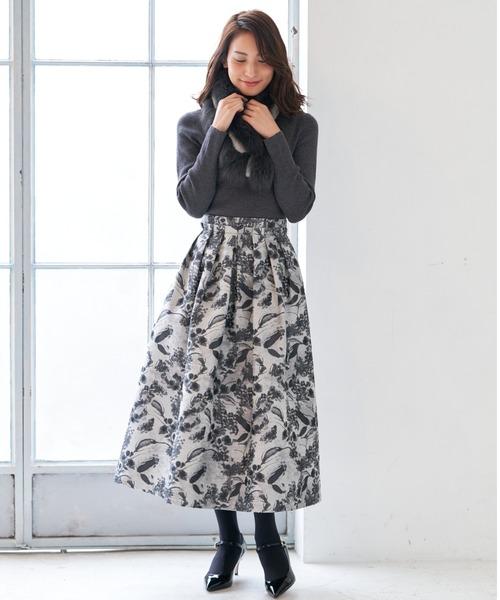 [ANAYI] ボタニカルジャガードタック スカート