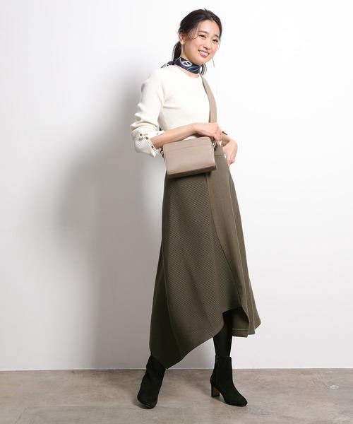 [ROPE'] 【セットアップ対応】ニットコンビアシンメトリースカート