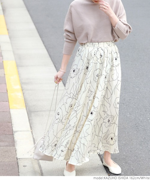 [coca] グラフィック花柄フレアロングスカート