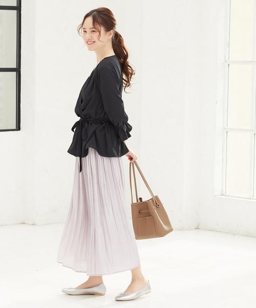 [ViS] 【新色追加】フェードアウトシャイニーサテンプリーツスカート
