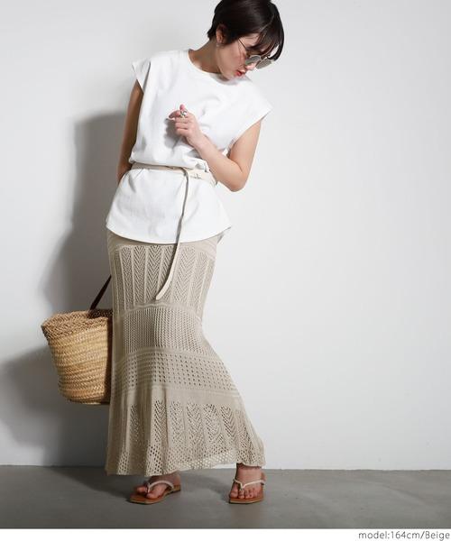 [coca] クロシェレースニットスカート
