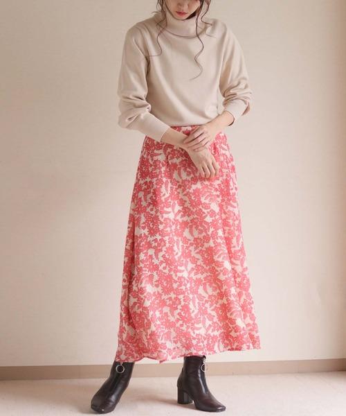 [HER CLOSET] 【HERCLOSET】【1mile/ワンマイルウェア】ボタニカル柄スカート