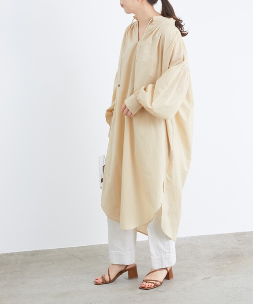 [ADAM ET ROPE'] 【WEB限定】インド綿ボリュームシャツワンピース