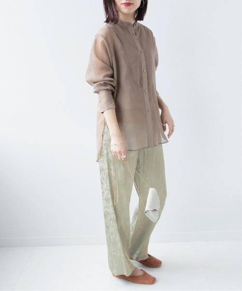 シアーシャツ×ジャカードイージーパンツ