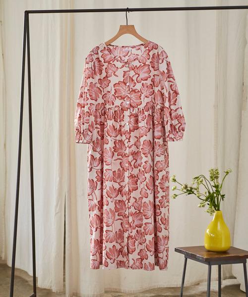 [une nana cool] 布帛 約束のレッドクローバー ワンピースパジャマ