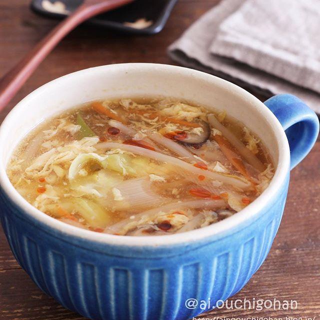ポン酢の大量消費に!具だくさん酸辣湯風スープ