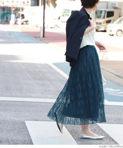 [coca] 総レースプリーツスカート