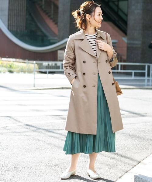 トレンチコート×プリーツロングスカート