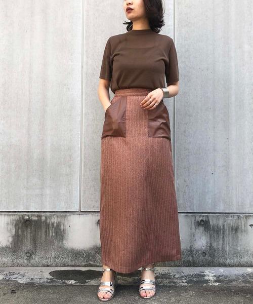 [HER CLOSET] 【&g'aime】ストライプ×レザースカート(セットアップOK)