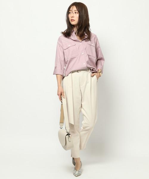 ミリタリーシャツ×サイドスリットパンツ