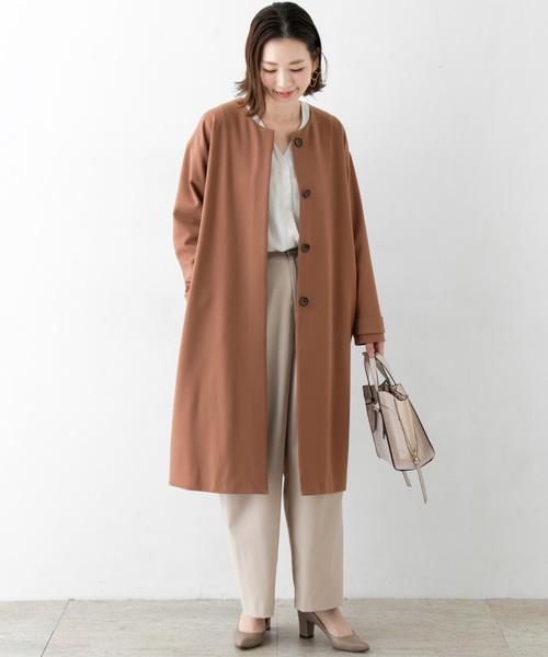[URBAN RESEARCH ROSSO WOMEN] ノーカラー2重織りコート