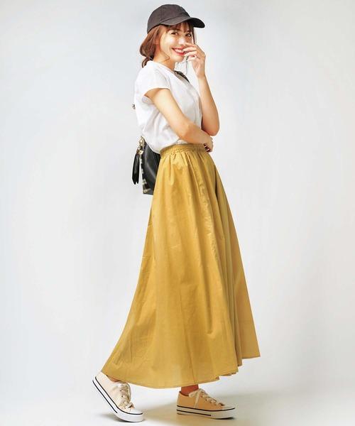 [GeeRA] 【20夏新着】綿100%ギャザーマキシスカート
