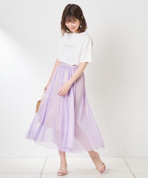 [natural couture] 【WEB限定カラー有り】シアー箔スカート