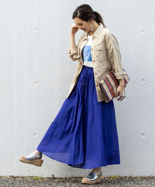 フォトプリントT×カラースカート