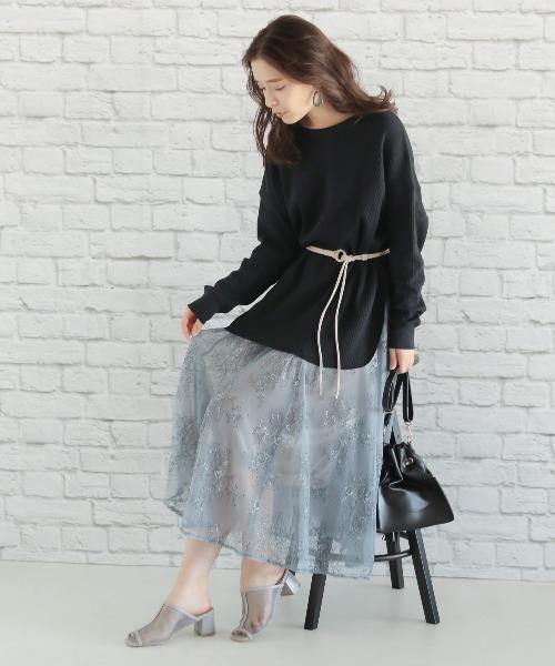 [mysty woman] 花柄刺繍チュールスカート 877956