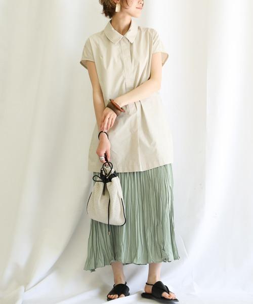 [select MOCA] 2020 S/S スムースリラックススカート(しわ加工ウエストゴムカラーロングスカート)