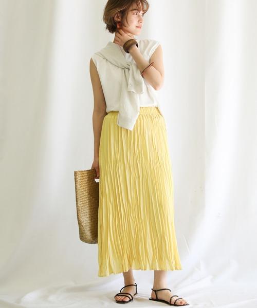ロングスカート×カーデの服装