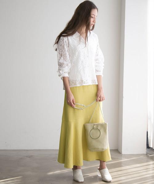 [rectangle] リネン混イレヘムスカート