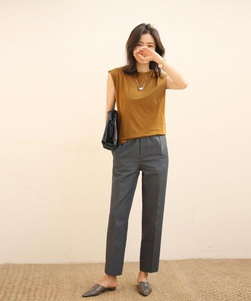 [SAISON DE PAPILLON] 【綿100%】クルーネックフレンチスリーブTシャツ