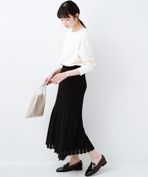 [haco!] 単品はもちろん重ね着してもかわいさが増す!透かし編みマーメイドスカート