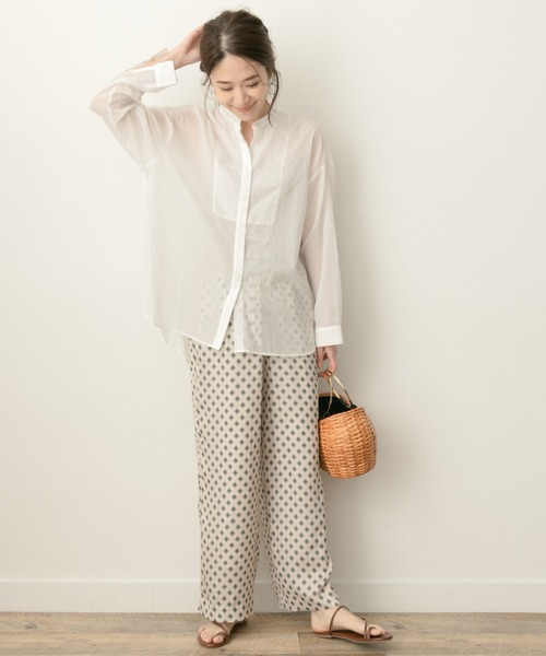 [URBAN RESEARCH ROSSO WOMEN] F by ROSSO バンドカラーシアーシャツ
