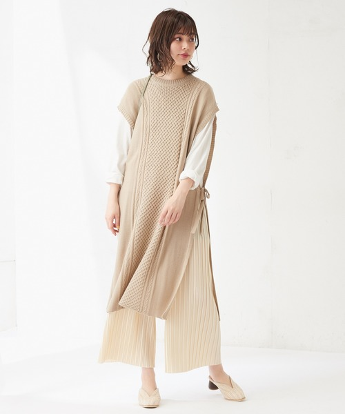 [natural couture] ランダムプリーツリラックスパンツ