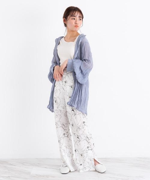 [Auntie Rosa] VANNIE U 3wayクリンクルシアーシャツ