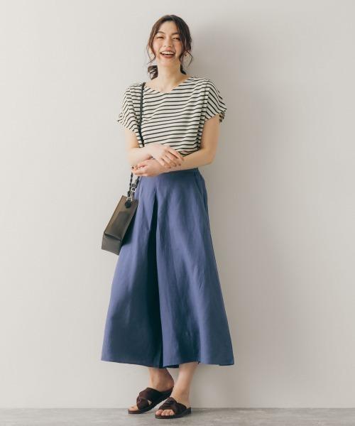 フレンチカットソー×パンツの服装
