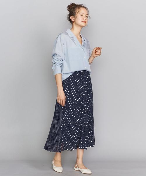 オープンカラーシャツ×おしゃれスカート