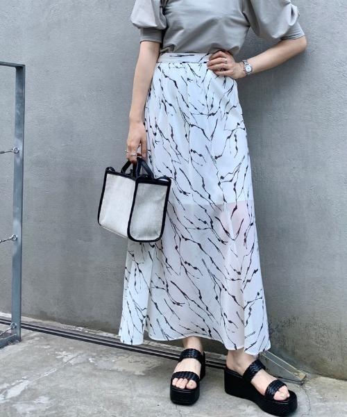 [Kastane] ゼブラシフォン楊柳スカート
