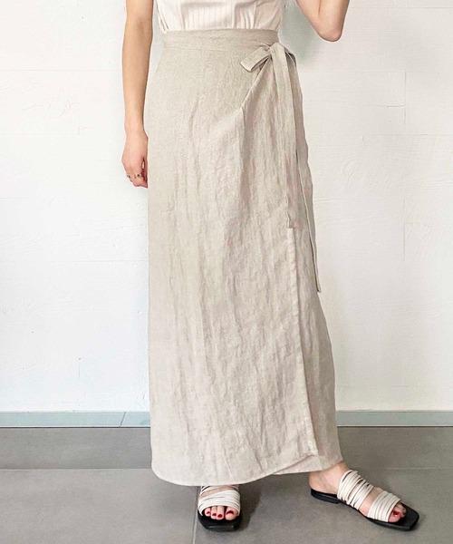 [OUVRAGE CLASSE] リネンヘリンボーンラップマキシスカート