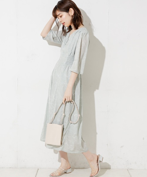 [natural couture] 【WEB限定カラー有り】レトロフラワーワンピース