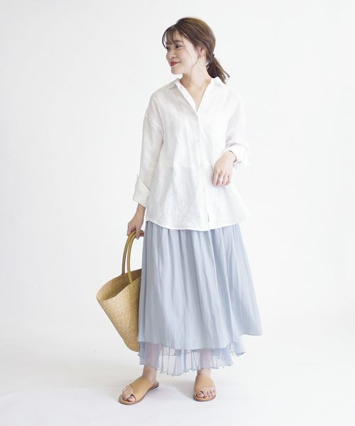 [SHIPS for women] リバーシブルワッシャースカート◆