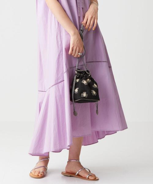 [EMMEL REFINES] SALUJA(サルージャ)レオパード柄 ビーズ 巾着バッグ