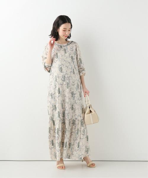 [IENA] SLOBE IENA Fim小花幾何ロングワンピース