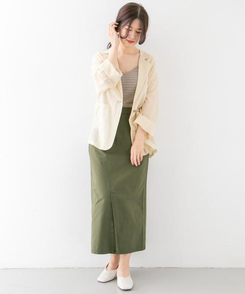 [KBF] カラーステッチサロン付きスカート