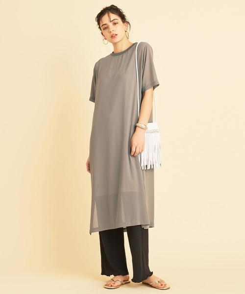 [BEAUTY&YOUTH UNITED ARROWS] BY∴ シフォンレイヤードTシャツワンピース -ウォッシャブル-