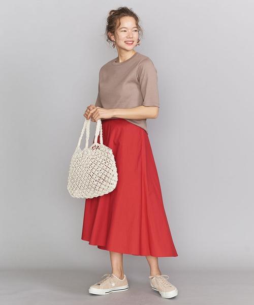 5分袖カットソー×フレアロングスカート
