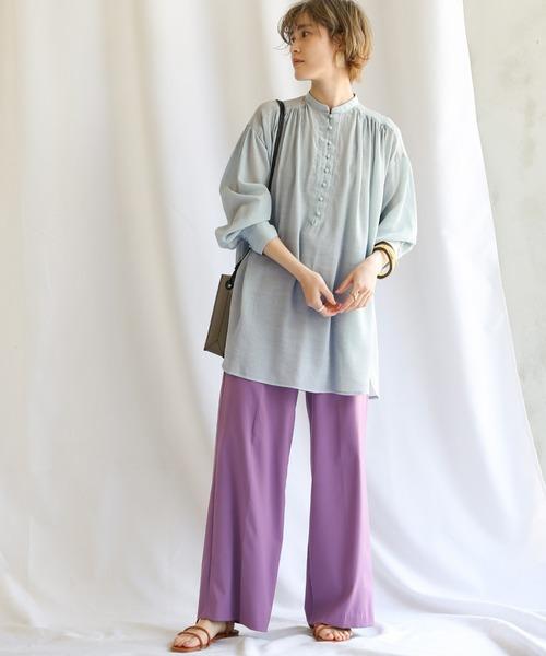 [select MOCA] 2020 S/S シフォン楊柳バンドカラーシアーブラウス/クルミボタンボリューム袖シアーシャツ/