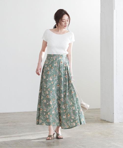 [titivate] 花柄セミフレアスカート