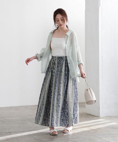 [titivate] インド綿フラワーパネル柄スカート