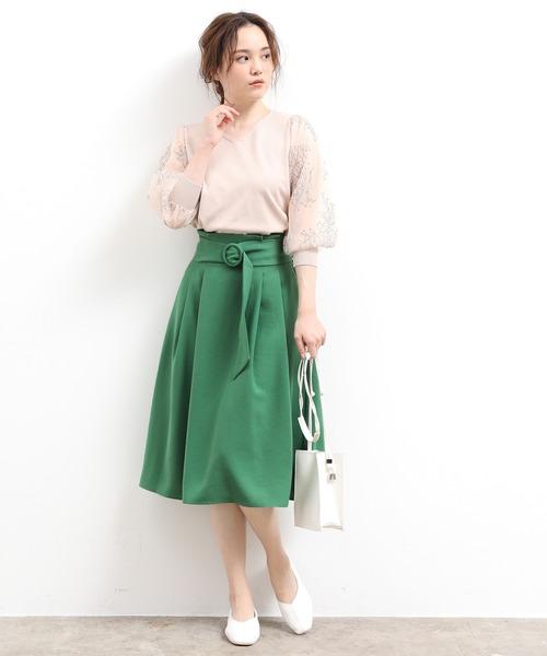 [ViS] リングバックルベルト付きフレアスカート