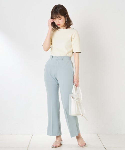 [natural couture] カットジョーゼットサイドペンツパンツ
