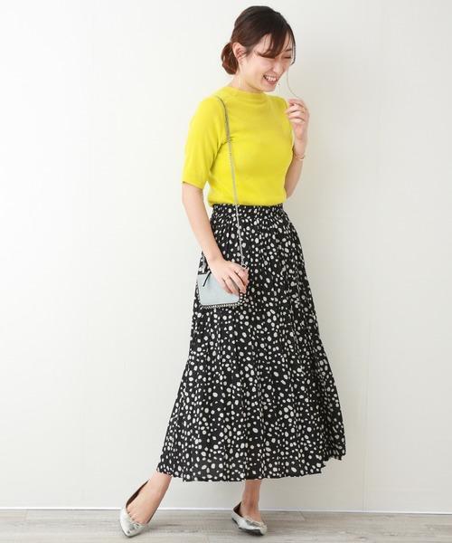 [MARLENE JOBERT] ダルメシアン柄ペアプリーツスカート