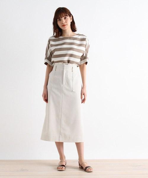 [grove] 【S-LLまで】防しわ/接触冷感/UV/洗える麻調スカート